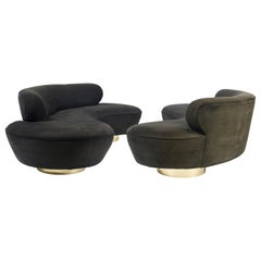 Vladimir Kagan Serpentine Sofas on Brass Bases