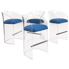 Vladimir Kagan Set of 4 Lucite Barstools, 1975
