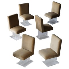 Vladimir Kagan, Set of Six Dining Chairs, Beige Velvet, Lucite, America, 1970s