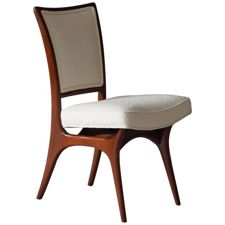 Vladimir Kagan, Side Chair, Walnut, White Boucle, Kagan-Dreyfus 1960s For Sale