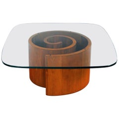 Vladimir Kagan Snail Coffee Table in Walnut with Original Glass