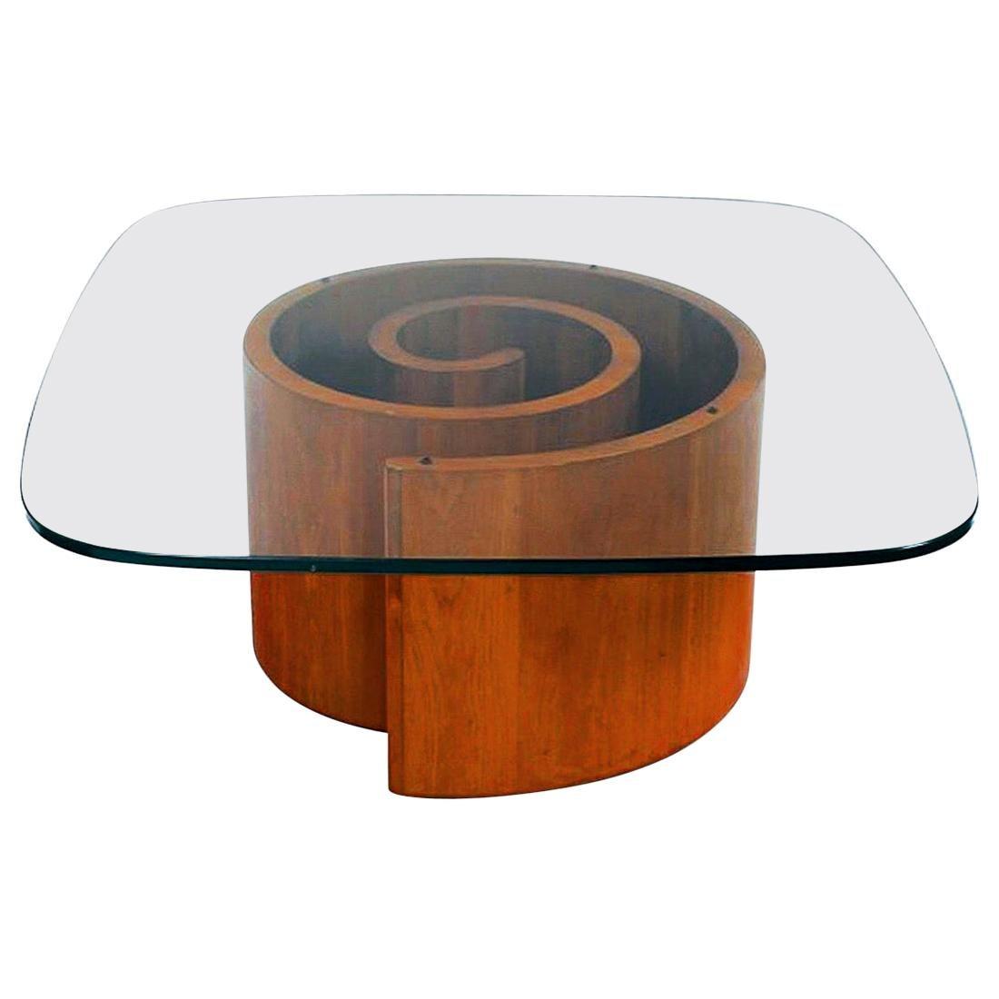 Vladimir Kagan Snail Coffee Table in Walnut