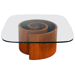 Vladimir Kagan Snail Coffee Table in Walnut with Original Glass