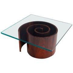 Vladimir Kagan Snail Coffee Table, Spiral Base and Glass, 1960s