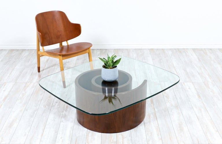 "Vladimir Kagan ""Snail""coffee table with glass top for Selig."