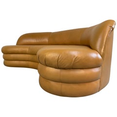 Vladimir Kagan Sofa for Directional Biomorphic Kidney Form in Caramel Leather