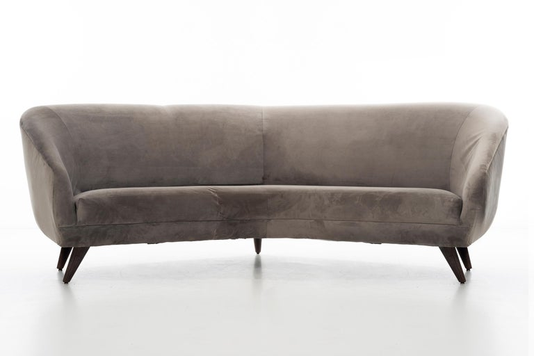 Kagan for Weiman, wide angle sofa, great large-scale statement piece with solid turned splayed and tapered cerused finished legs, deep seat with lumbar supported back. Original cotton velvet upholstery gently used, would benefit from reupholstery,