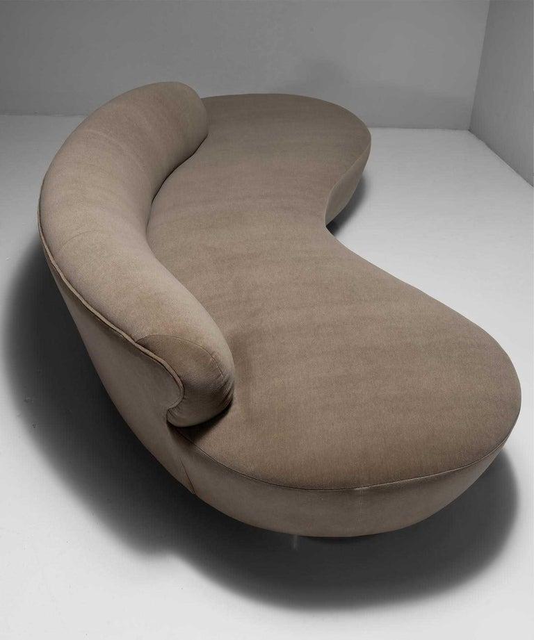 Newly upholstered in wool velvet on chrome bases with lucite center leg.