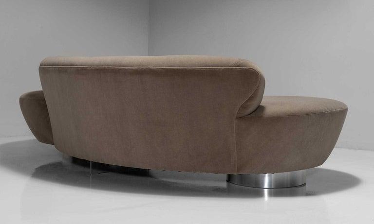 Velvet Vladimir Kagan Sofa For Sale