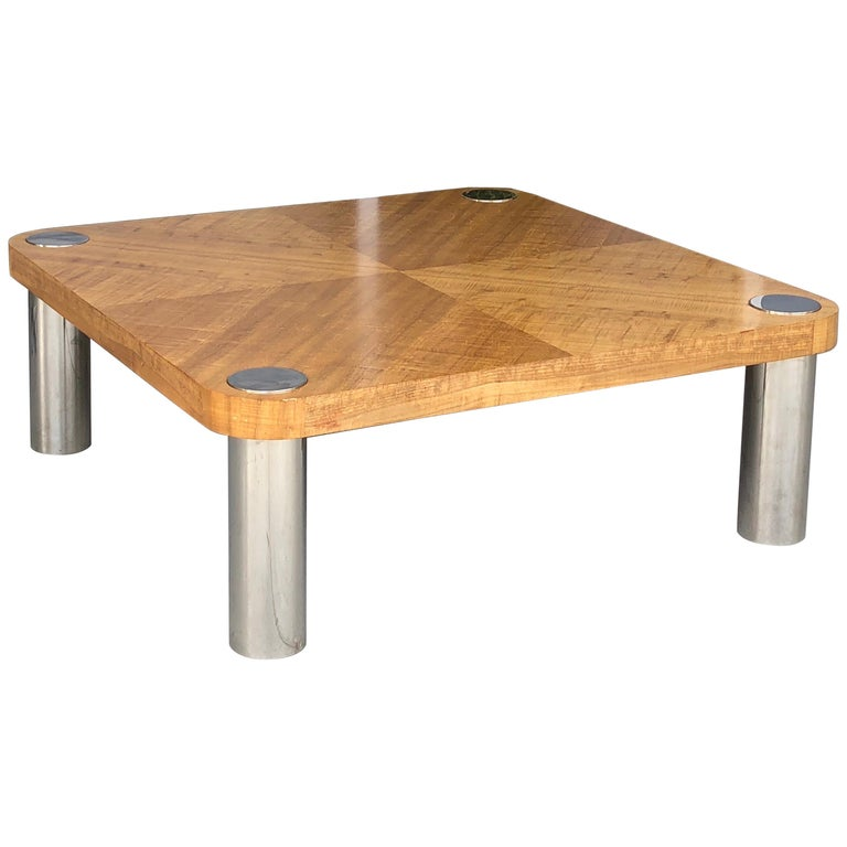 Stainless Steel And Wood Coffee Table: Vladimir Kagan Stainless Steel And Wood Coffee Table For