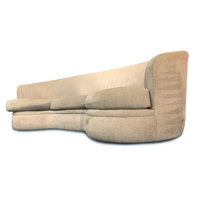 American Kidney Bean Crescent Shaped Curved Sofa For Sale