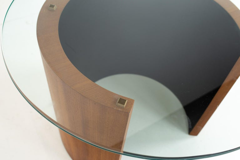 Glass Midcentury Walnut Side End Table For Sale