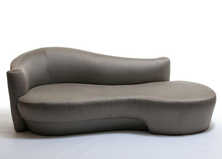 This chaise/sofa looks great from all angles. Sculptural, curvy, glamorous. Quite comfortable and reminiscent of cloud form sofa designs. Weiman label.  Custom reupholstery available as an upgrade. We can see this in bouclé, velvet or even shearling.