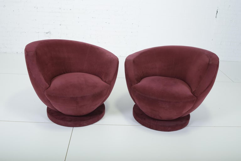 Rare pair of swivel chairs by Vladimir Kagan for Directional, These retain original Directional labels.