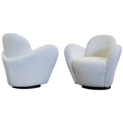 Vladimir Kagan Swivel Lounge Chairs for Directional, a Pair