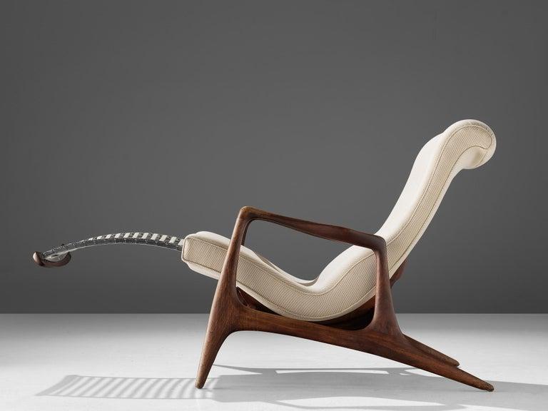 Mid-Century Modern Vladimir Kagan Teak and Ivory Fabric 'Contour' Chair For Sale