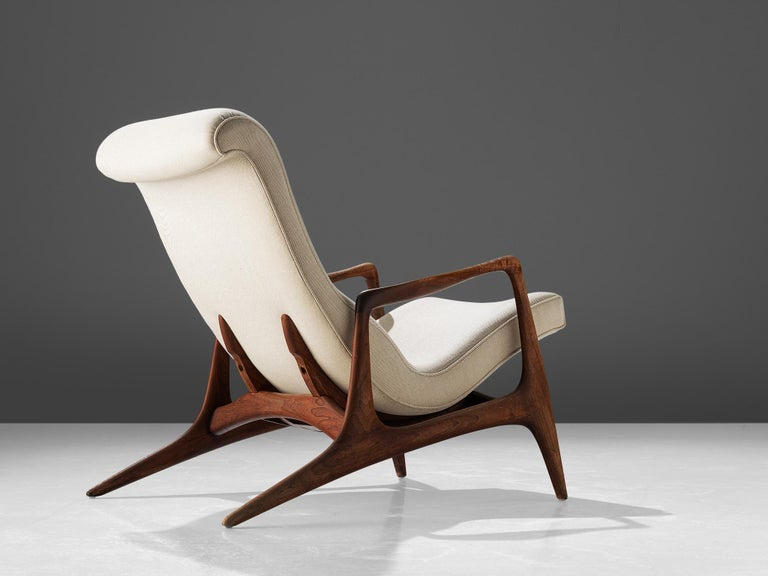 Virgin Islands Vladimir Kagan Teak and Ivory Fabric 'Contour' Chair For Sale