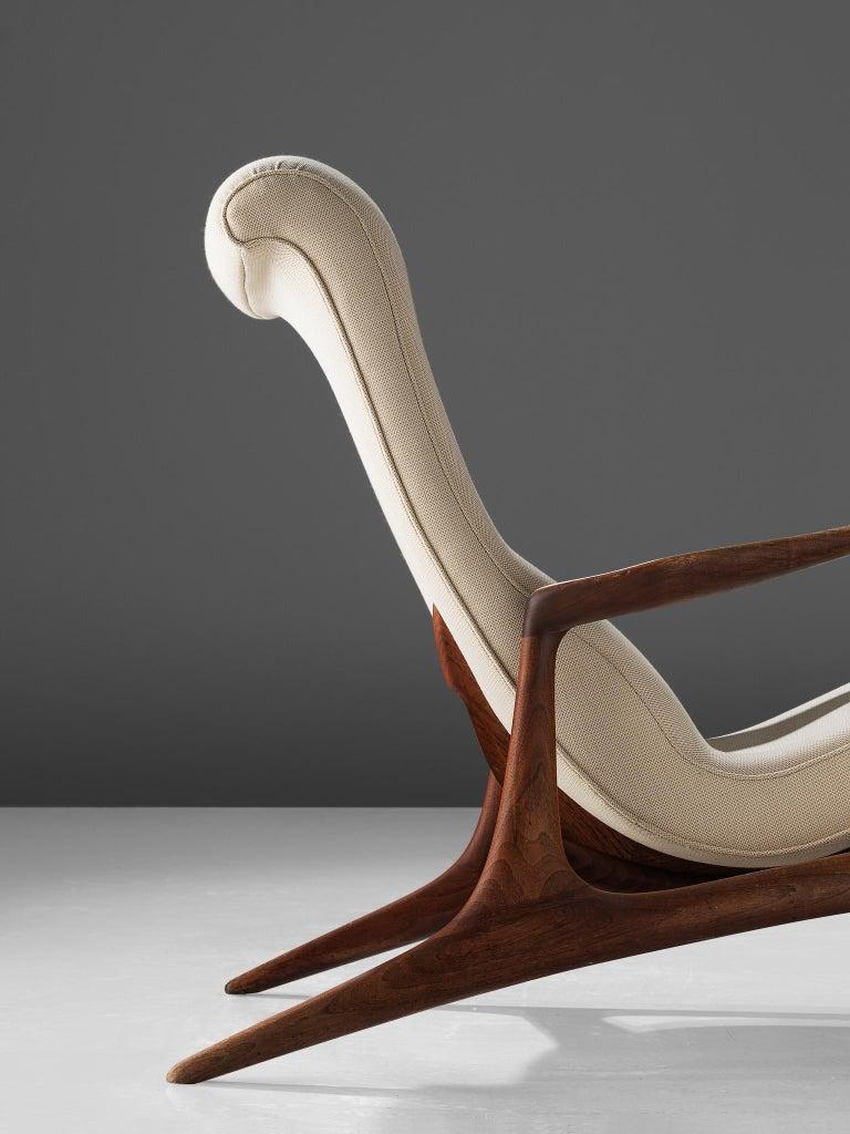 Mid-20th Century Vladimir Kagan Teak and Ivory Fabric 'Contour' Chair For Sale