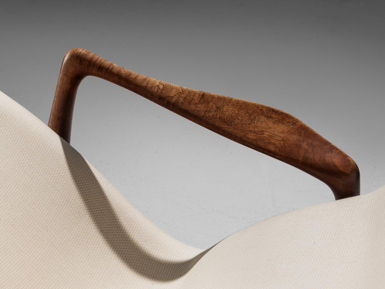 Vladimir Kagan Teak and Ivory Fabric 'Contour' Chair For Sale 3