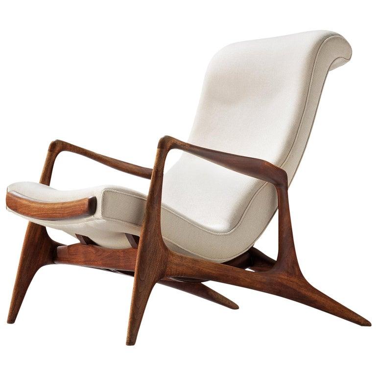 Vladimir Kagan Teak and Ivory Fabric 'Contour' Chair For Sale