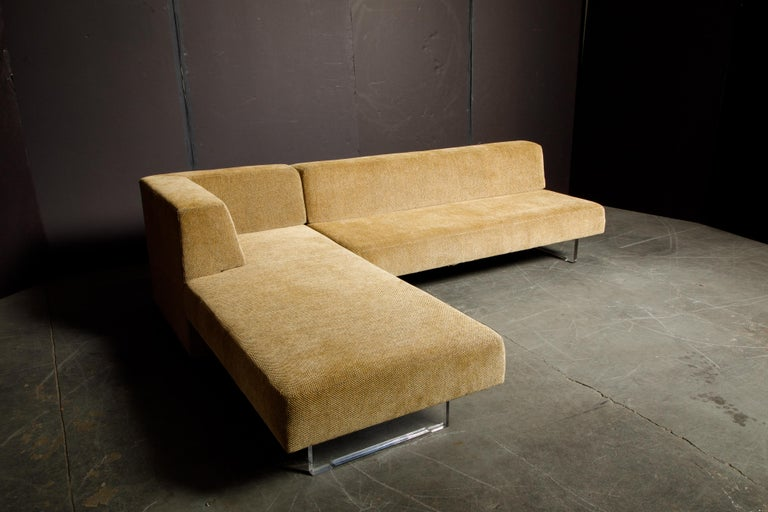 Vladimir Kagan Three Piece 'Omnibus' Sectional Sofa with Lucite Legs, Signed For Sale 11