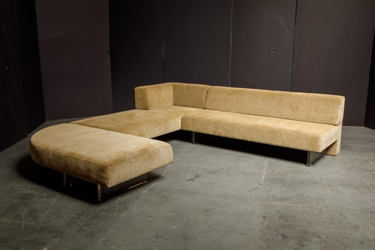 American Vladimir Kagan Three Piece 'Omnibus' Sectional Sofa with Lucite Legs, Signed For Sale