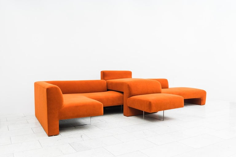 Sleek and organic, Kagan's furniture represents the adaptive spirit of American creativity. With a daybed, a L-shaped sofa, and a high-low, the entire piece may be arranged as one large sofa, or in three parts with room for side tables or walkways