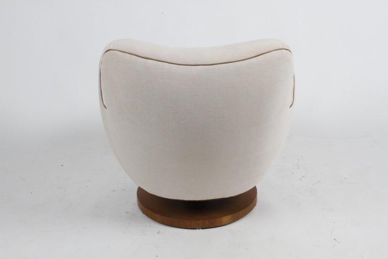 Upholstery Vladimir Kagan Tilt-Swivel Barrel Lounge Chair Model 100-S w/ Holly Hunt Velvet For Sale