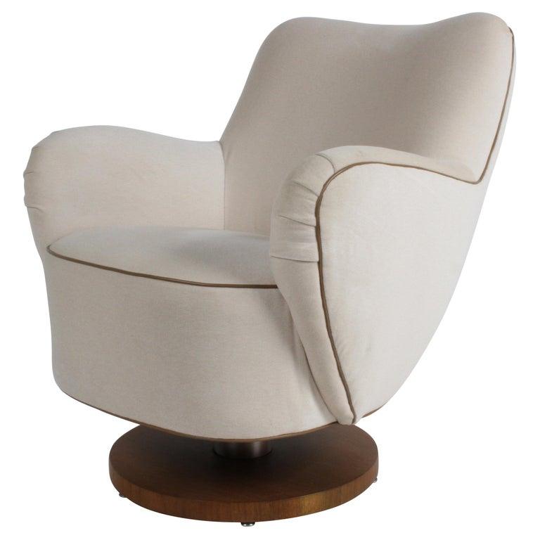Vladimir Kagan Tilt-Swivel Barrel Lounge Chair Model 100-S w/ Holly Hunt Velvet For Sale