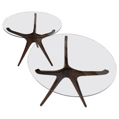 Trisymmetric Walnut and Glass Side or Occasional Tables-Vladimir Kagan Style