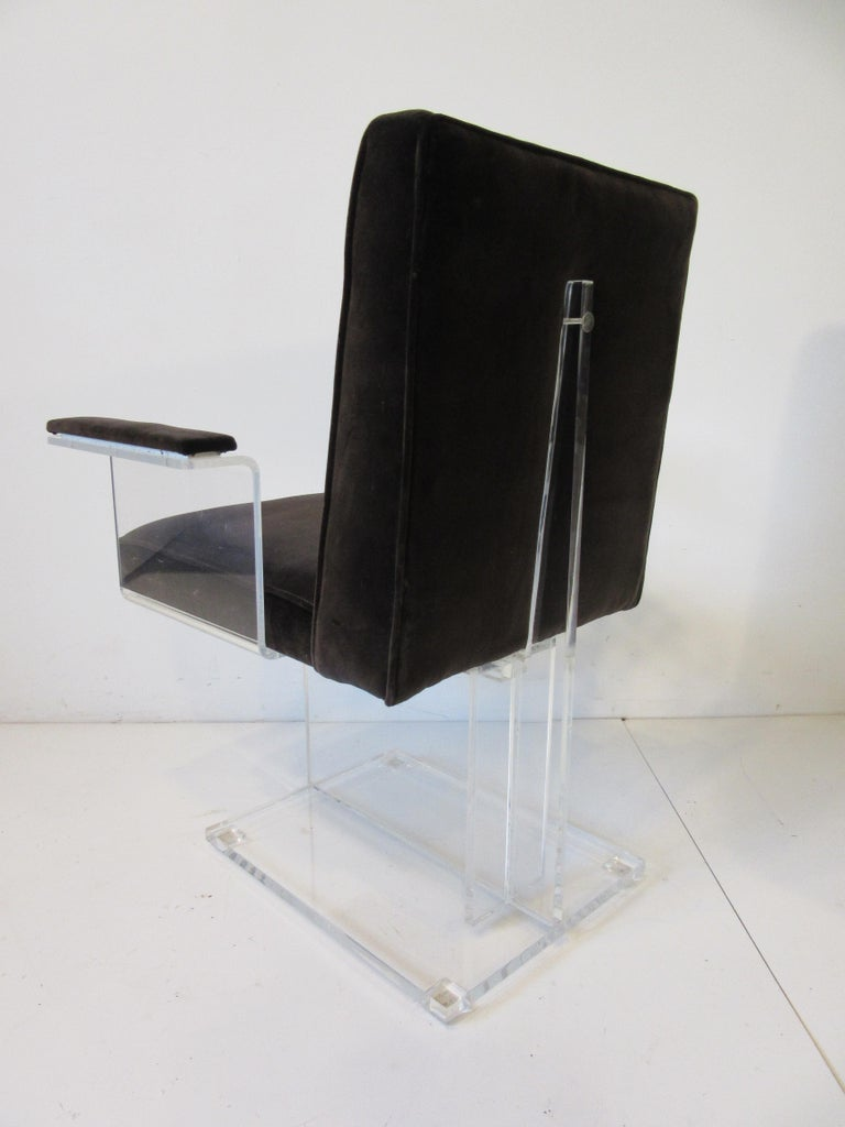 Vladimir Kagan Upholstered Lucite Pedestal Armchairs For Sale 4