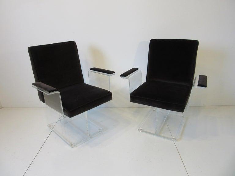 Vladimir Kagan Upholstered Lucite Pedestal Armchairs For Sale 5