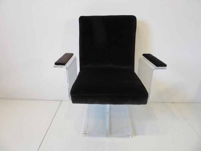 Modern Vladimir Kagan Upholstered Lucite Pedestal Armchairs For Sale