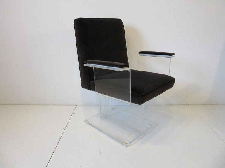 American Vladimir Kagan Upholstered Lucite Pedestal Armchairs For Sale