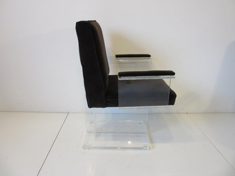Vladimir Kagan Upholstered Lucite Pedestal Armchairs In Good Condition For Sale In Cincinnati, OH