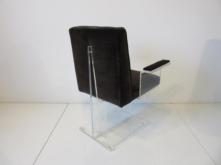 20th Century Vladimir Kagan Upholstered Lucite Pedestal Armchairs For Sale
