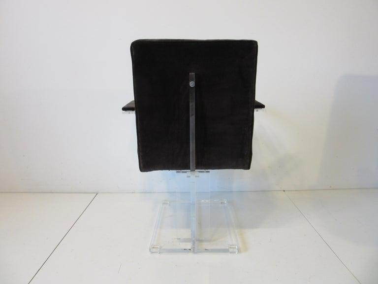 Vladimir Kagan Upholstered Lucite Pedestal Armchairs For Sale 1