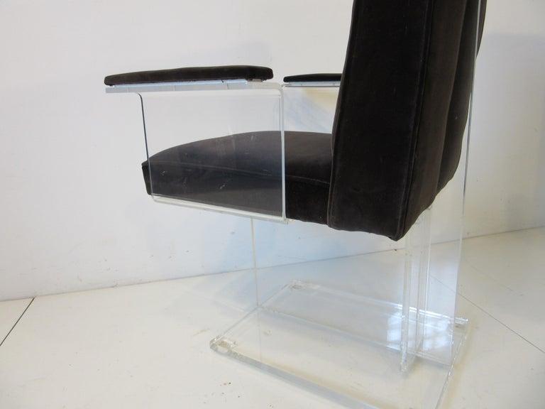 Vladimir Kagan Upholstered Lucite Pedestal Armchairs For Sale 3