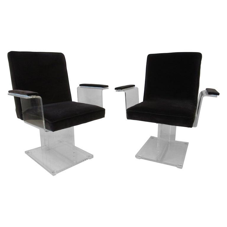 Vladimir Kagan Upholstered Lucite Pedestal Armchairs For Sale