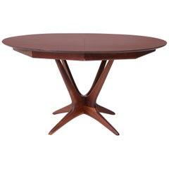 Vladimir Kagan Walnut and Rosewood Studio Dining Table