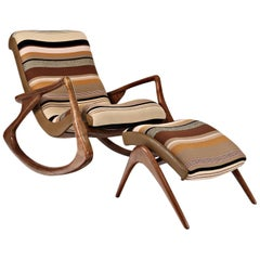 Vladimir Kagan Walnut 'Contour' Rocking Lounge Chair and Ottoman, Signed