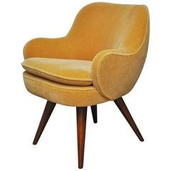 Vladimir Kagan Walnut Frame Lounge Armchair, 1950s
