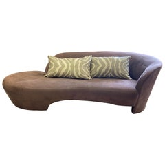 Vladimir Kagan Weiman Preview Chaise Lounges Longes Sofa Chocolate Brown Suede