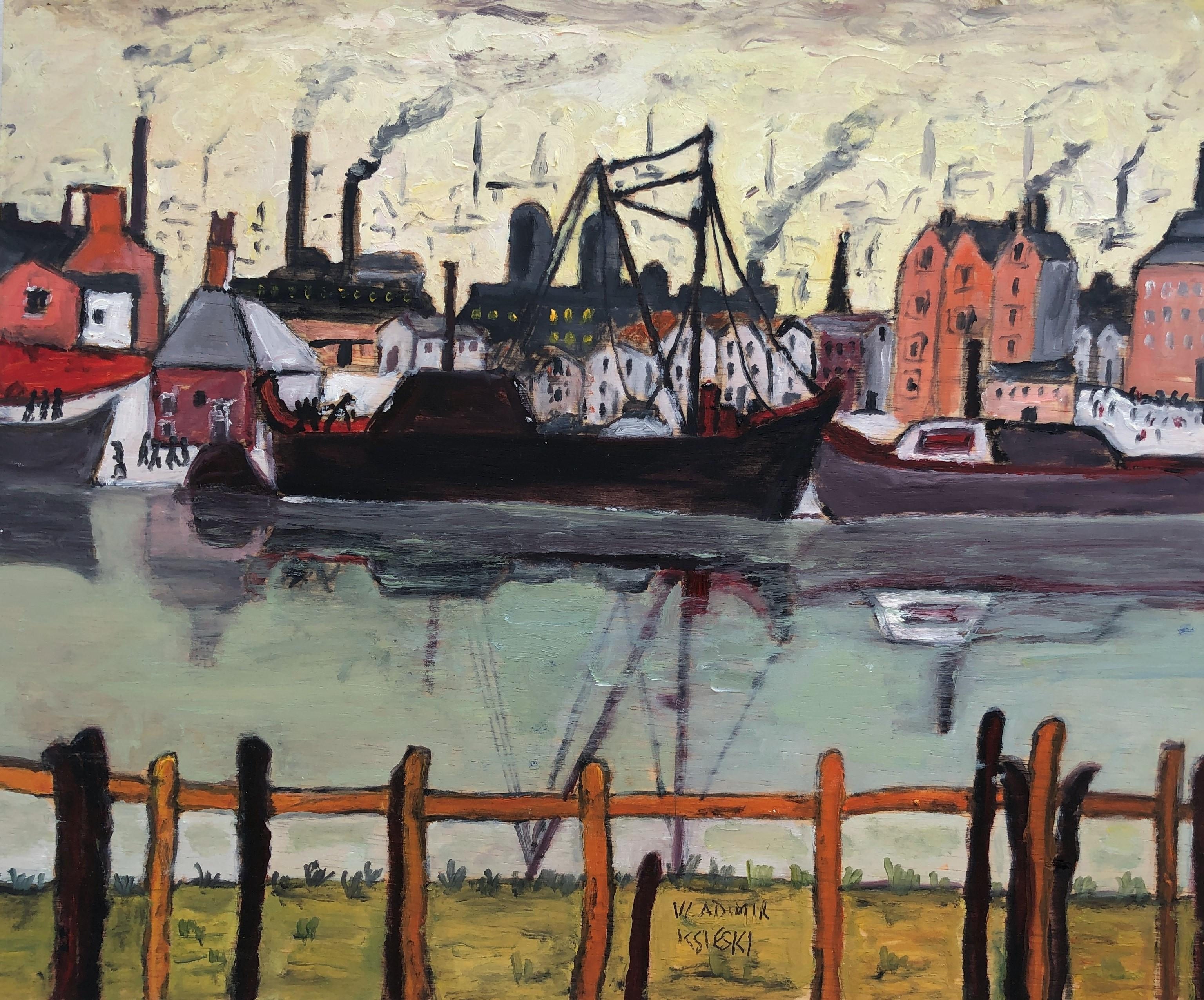 Industrial port, 1930s oil on board painting seascape