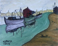 Landscape with river and boats oil painting seascape