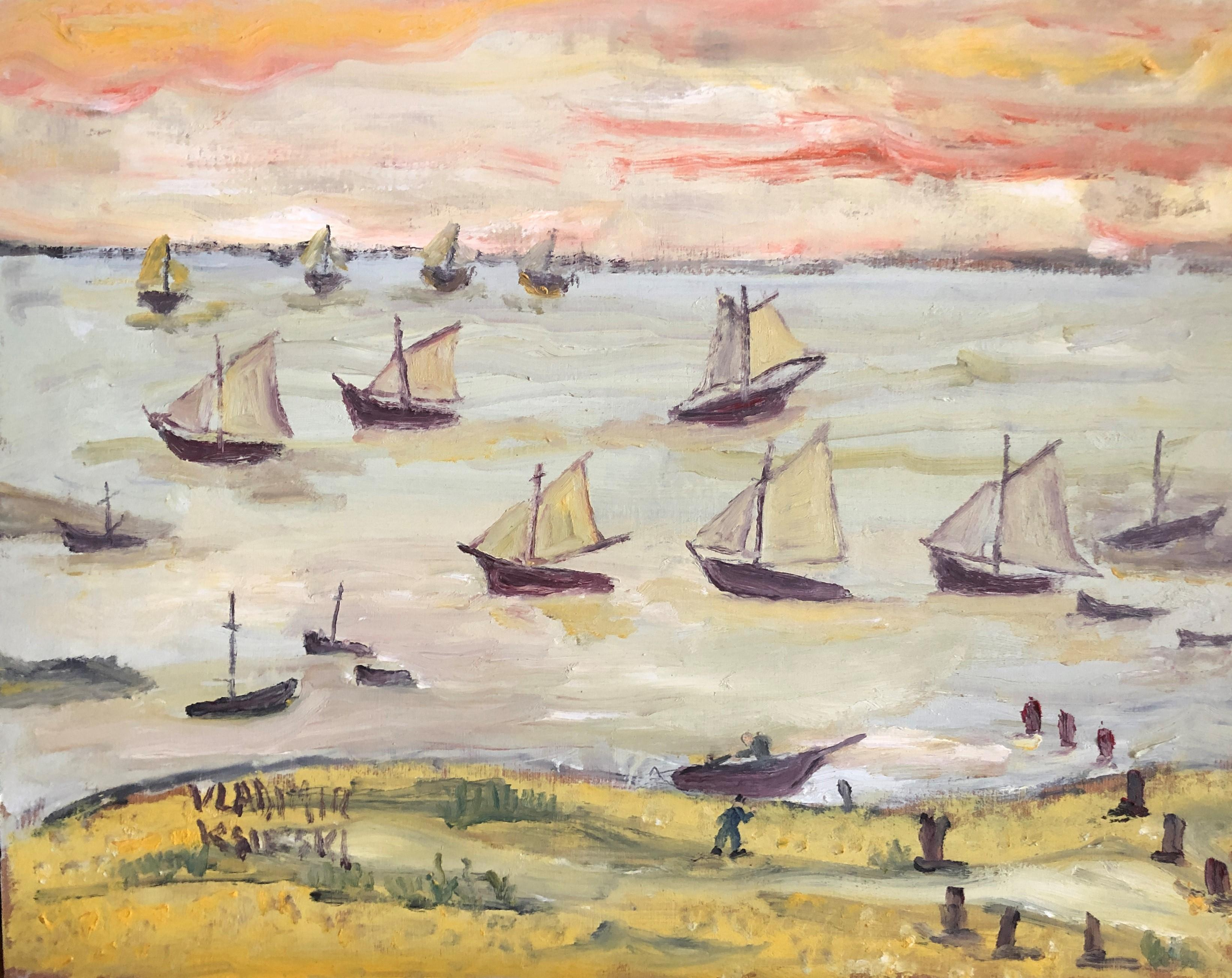 Sailboats in the sea oil painting seascape
