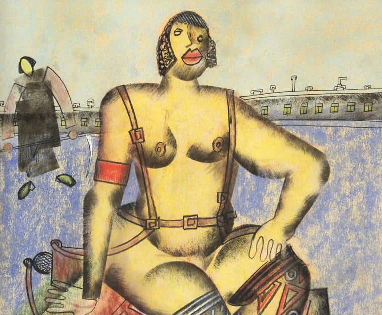 Hand-Painted Vladimir Lebedev Russian Avant-Garde 'Working Girl' Mixed Media Work on Paper For Sale