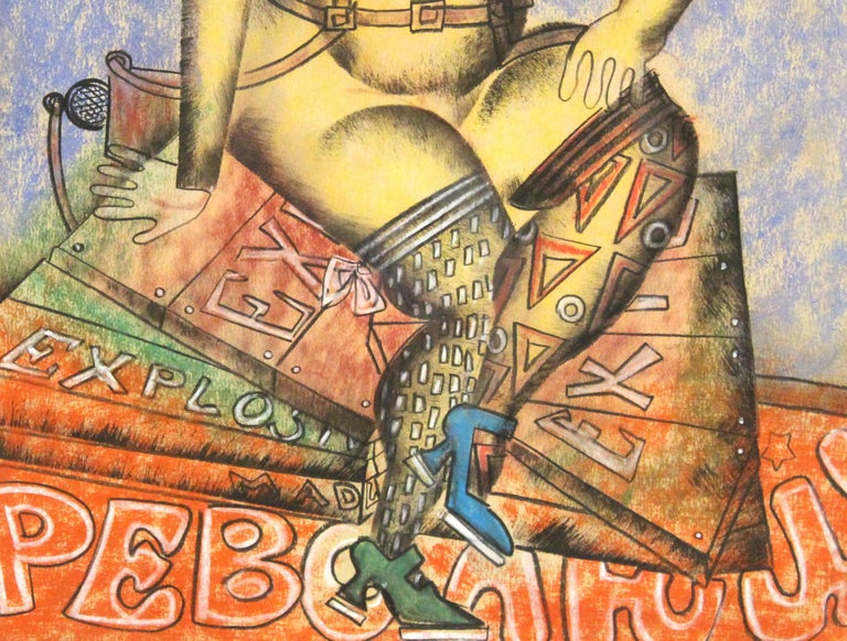 Vladimir Lebedev Russian Avant-Garde 'Working Girl' Mixed Media Work on Paper In Good Condition For Sale In New York, NY