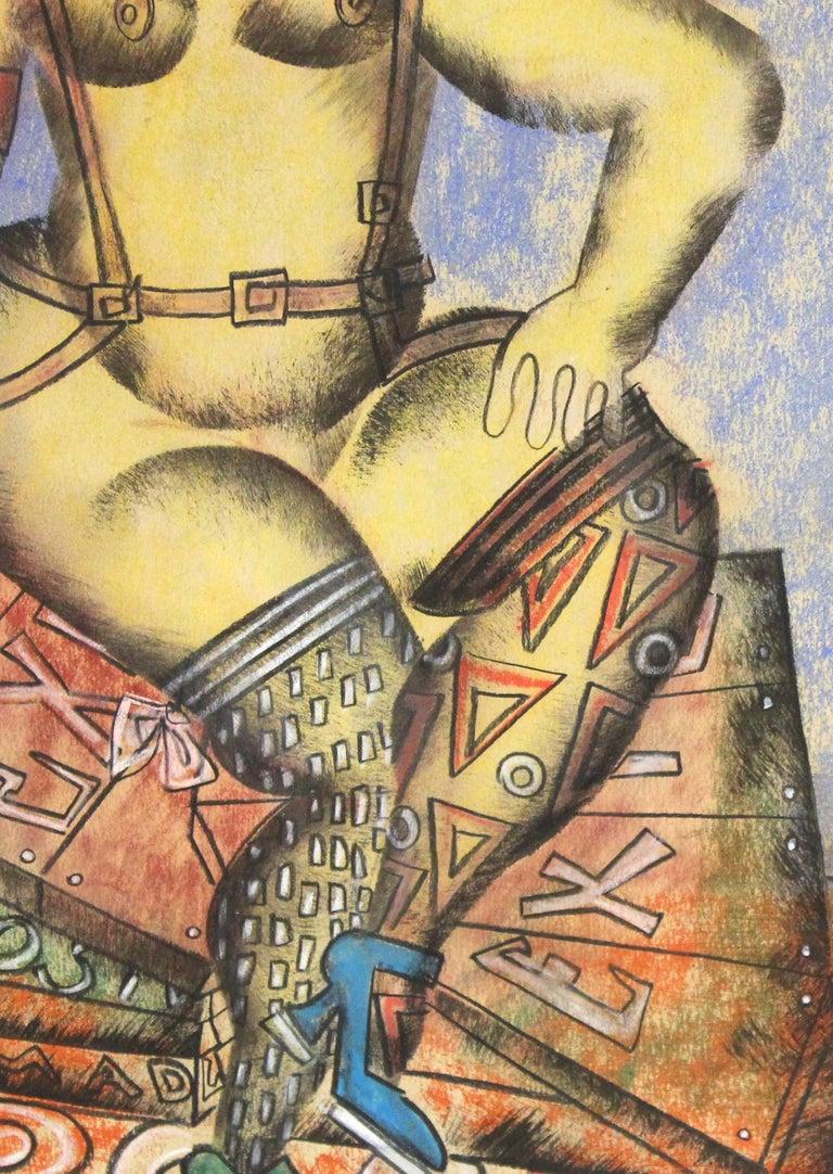 Vladimir Lebedev Russian Avant-Garde 'Working Girl' Mixed Media Work on Paper For Sale 1