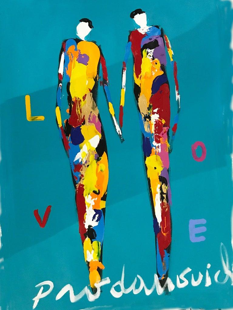 Blue Love - Mixed Media Art by Vladimir Prodanovich